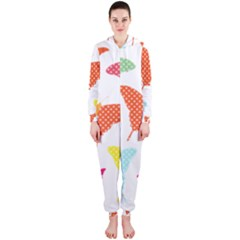 Beautiful Colorful Polka Dot Butterflies Clipart Hooded Jumpsuit (ladies)