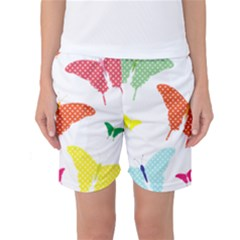 Beautiful Colorful Polka Dot Butterflies Clipart Women s Basketball Shorts