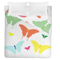 Beautiful Colorful Polka Dot Butterflies Clipart Duvet Cover Double Side (queen Size) by BangZart