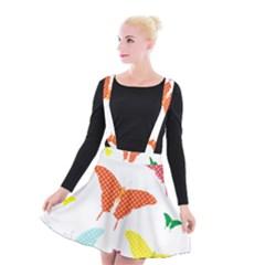Beautiful Colorful Polka Dot Butterflies Clipart Suspender Skater Skirt