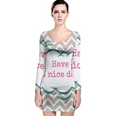 Have A Nice Day Long Sleeve Bodycon Dress by BangZart