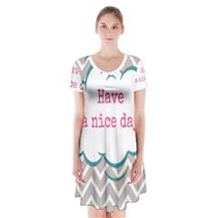 Have A Nice Day Short Sleeve V Neck Flare Dress