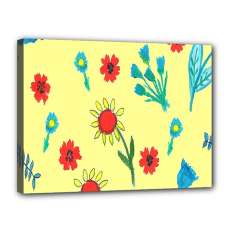 Flowers Fabric Design Canvas 16  X 12  by BangZart