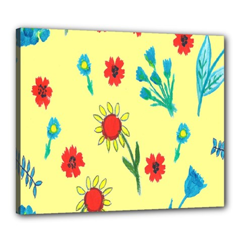Flowers Fabric Design Canvas 24  X 20