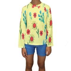 Flowers Fabric Design Kids  Long Sleeve Swimwear