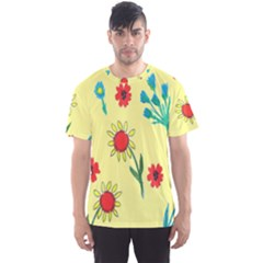 Flowers Fabric Design Men s Sports Mesh Tee