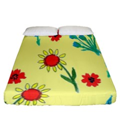 Flowers Fabric Design Fitted Sheet (queen Size)
