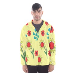 Flowers Fabric Design Hooded Wind Breaker (men)