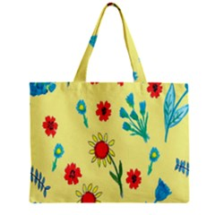 Flowers Fabric Design Zipper Mini Tote Bag