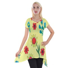 Flowers Fabric Design Short Sleeve Side Drop Tunic