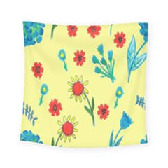 Flowers Fabric Design Square Tapestry (small)