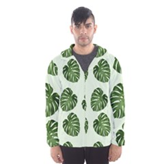 Leaf Pattern Seamless Background Hooded Wind Breaker (men)