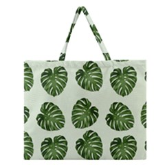 Leaf Pattern Seamless Background Zipper Large Tote Bag by BangZart