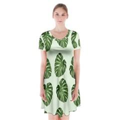 Leaf Pattern Seamless Background Short Sleeve V Neck Flare Dress
