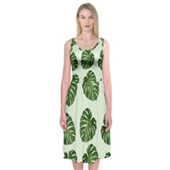 Leaf Pattern Seamless Background Midi Sleeveless Dress