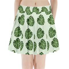 Leaf Pattern Seamless Background Pleated Mini Skirt