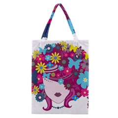 Beautiful Gothic Woman With Flowers And Butterflies Hair Clipart Classic Tote Bag by BangZart