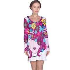 Beautiful Gothic Woman With Flowers And Butterflies Hair Clipart Long Sleeve Nightdress
