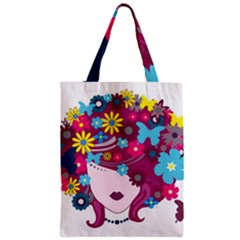 Beautiful Gothic Woman With Flowers And Butterflies Hair Clipart Zipper Classic Tote Bag by BangZart