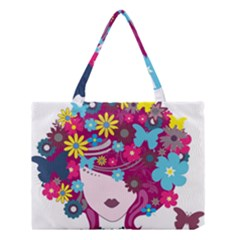 Beautiful Gothic Woman With Flowers And Butterflies Hair Clipart Medium Tote Bag by BangZart