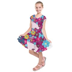 Beautiful Gothic Woman With Flowers And Butterflies Hair Clipart Kids  Short Sleeve Dress