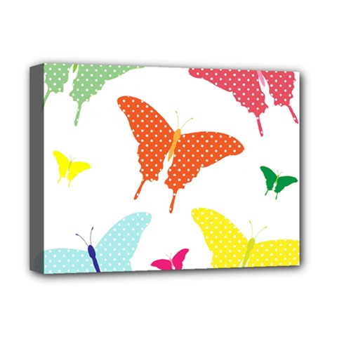 Beautiful Colorful Polka Dot Butterflies Clipart Deluxe Canvas 16  X 12   by BangZart