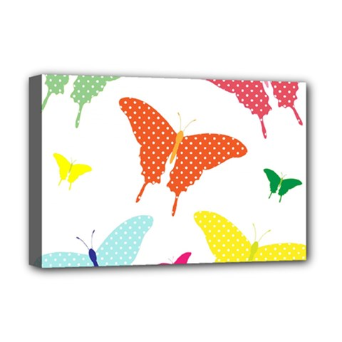 Beautiful Colorful Polka Dot Butterflies Clipart Deluxe Canvas 18  X 12   by BangZart