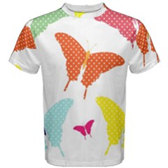 Beautiful Colorful Polka Dot Butterflies Clipart Men s Cotton Tee