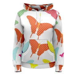 Beautiful Colorful Polka Dot Butterflies Clipart Women s Pullover Hoodie