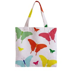 Beautiful Colorful Polka Dot Butterflies Clipart Zipper Grocery Tote Bag by BangZart
