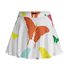 Beautiful Colorful Polka Dot Butterflies Clipart Mini Flare Skirt