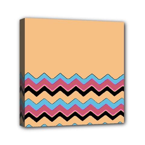 Chevrons Patterns Colorful Stripes Mini Canvas 6  X 6  by BangZart