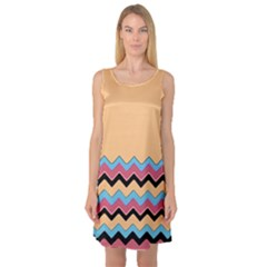 Chevrons Patterns Colorful Stripes Sleeveless Satin Nightdress