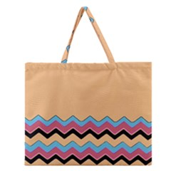 Chevrons Patterns Colorful Stripes Zipper Large Tote Bag by BangZart