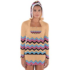 Chevrons Patterns Colorful Stripes Women s Long Sleeve Hooded T Shirt