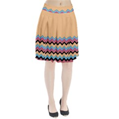 Chevrons Patterns Colorful Stripes Pleated Skirt