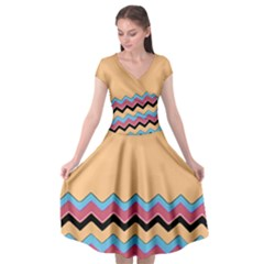 Chevrons Patterns Colorful Stripes Cap Sleeve Wrap Front Dress