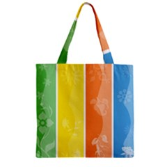 Floral Colorful Seasonal Banners Zipper Grocery Tote Bag