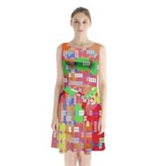 Abstract Polka Dot Pattern Sleeveless Waist Tie Chiffon Dress