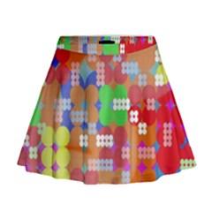 Abstract Polka Dot Pattern Mini Flare Skirt
