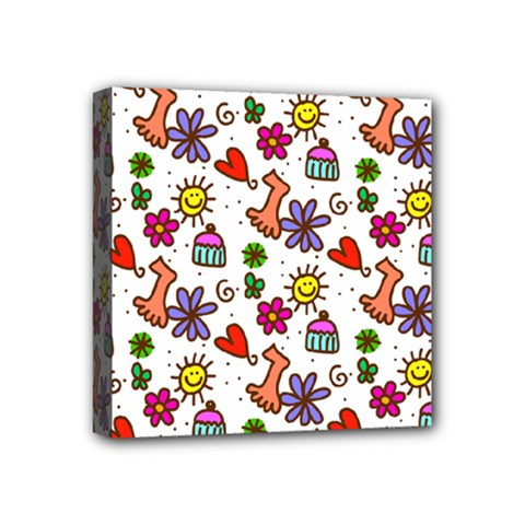 Cute Doodle Wallpaper Pattern Mini Canvas 4  X 4