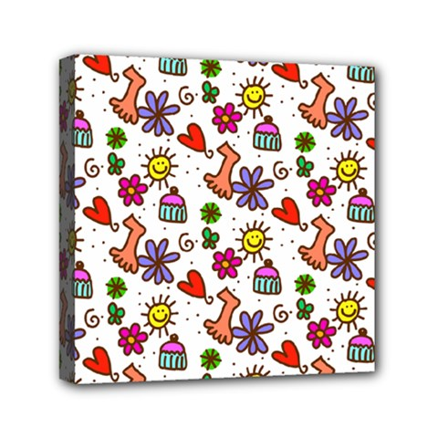 Cute Doodle Wallpaper Pattern Mini Canvas 6  X 6  by BangZart