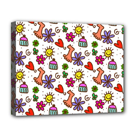 Cute Doodle Wallpaper Pattern Deluxe Canvas 20  X 16   by BangZart