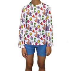Cute Doodle Wallpaper Pattern Kids  Long Sleeve Swimwear