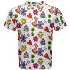 Cute Doodle Wallpaper Pattern Men s Cotton Tee