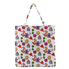 Cute Doodle Wallpaper Pattern Grocery Tote Bag by BangZart