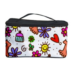 Cute Doodle Wallpaper Pattern Cosmetic Storage Case