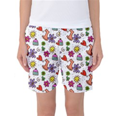 Cute Doodle Wallpaper Pattern Women s Basketball Shorts