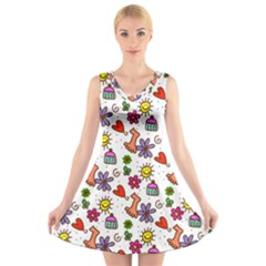 Cute Doodle Wallpaper Pattern V Neck Sleeveless Skater Dress