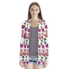 Cute Doodle Wallpaper Pattern Drape Collar Cardigan
